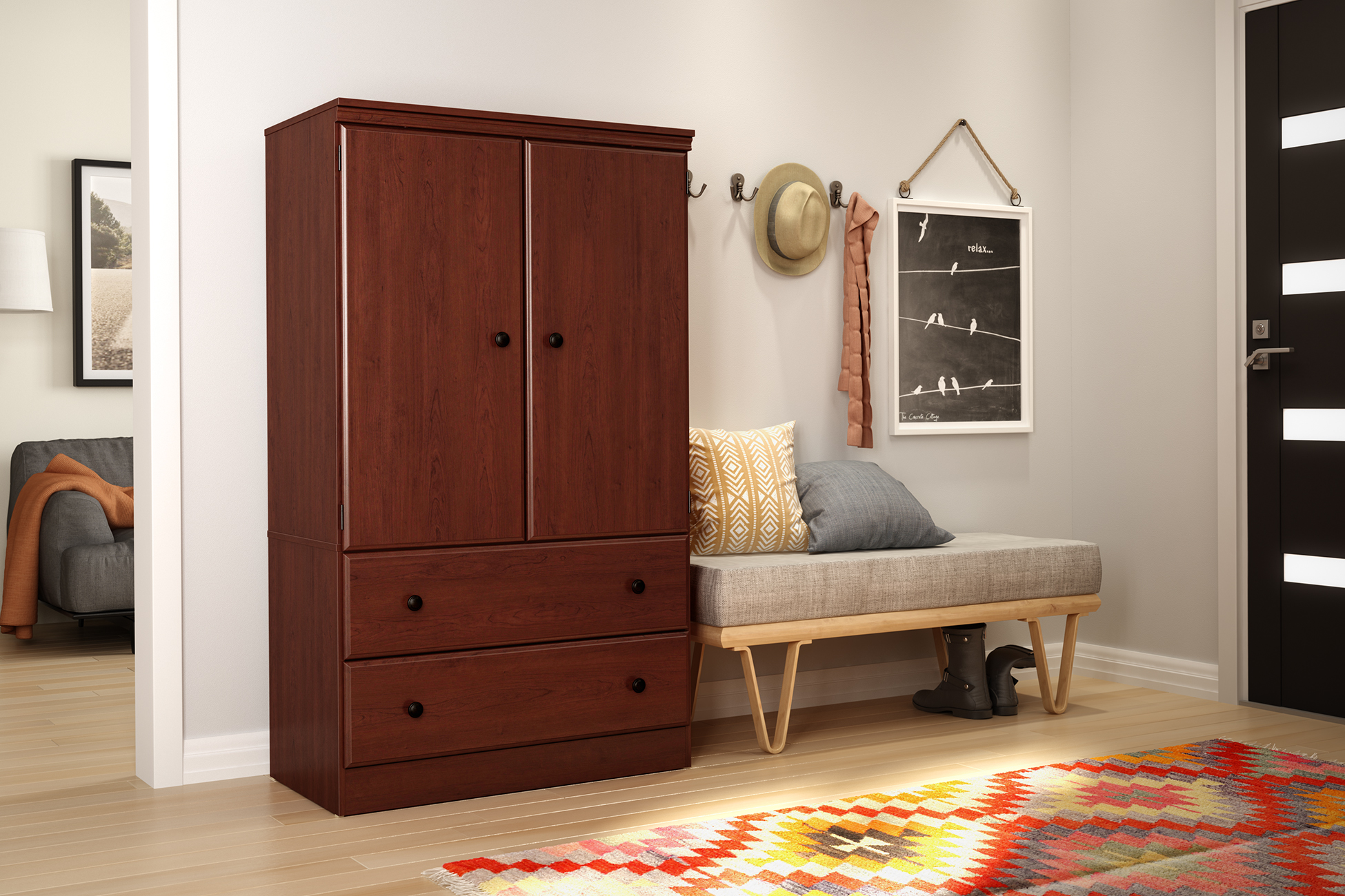 South Shore Morgan 2 Door Armoire With Drawers, Multiple Finishes