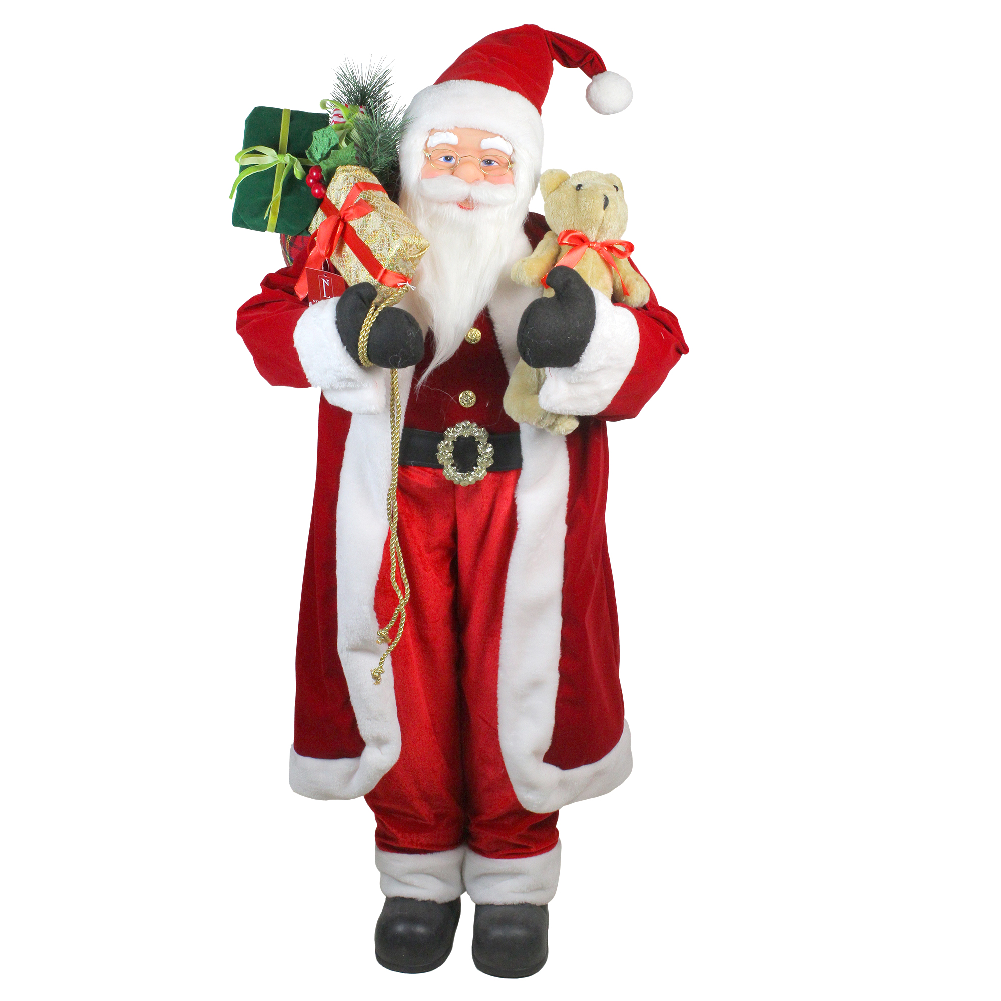 4' Standing Santa Claus Christmas Figure with Teddy Bear and Gift Sack