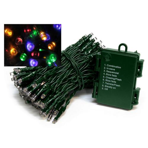 Set of 96 Battery Operated Multi-Function Multi-Color LED Wide Angle Christmas Lights - Green Wire
