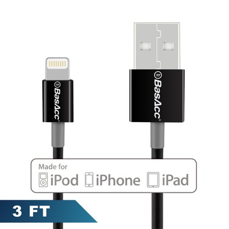 For iPhone Charger Cable by BasAcc 3' Lightning USB Cable (Apple MFi Certified) for iPhone XS X 7 8 6 Plus 6s SE iPad Pro 10.5 9.7 5 4 Air Mini iPod Touch 5th 6th Sync and Charge Charger 8-Pin Black (Apple Ipad Air Charger 12w)