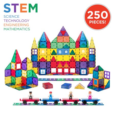 Best Choice Products 250-Piece Kids Educational STEM Rainbow Geometric 3D Magnetic Building Block Tile Toy Play Set w/ Railroad Tracks, 4 Action Figures, 4 Mini Train Carts, ABC Stickers