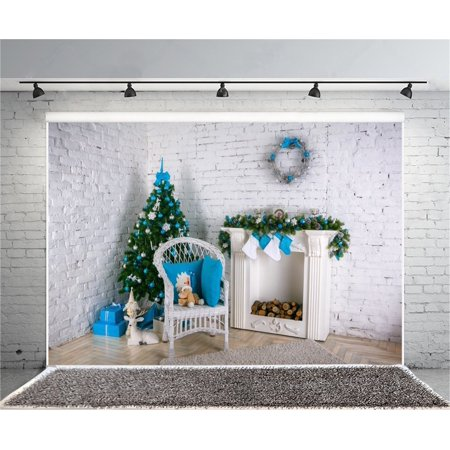 GreenDecor Polyster 7x5ft Decorated Christmas Tree Photography Background Interior Brick Wall