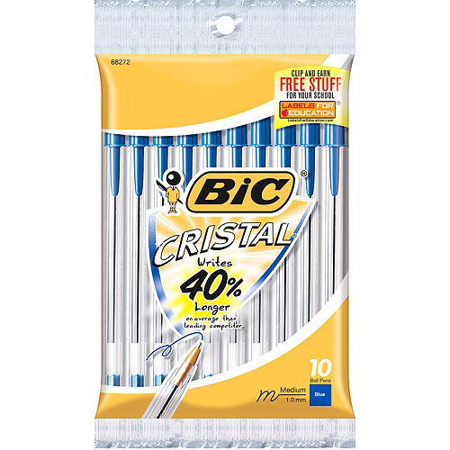 BIC Cristal Ball Pen, Medium, Blue, 10-Pack