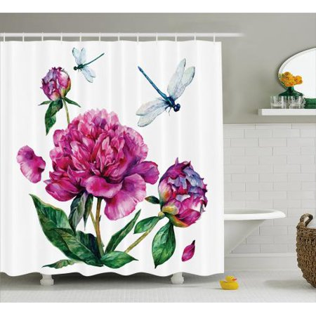 Flower Shower Curtain, Watercolor Peonies and Dragonflies Blossoming Spring with Romantic Feminine Bouquet, Fabric Bathroom Set with Hooks, 69W X 70L Inches, Multicolor, by