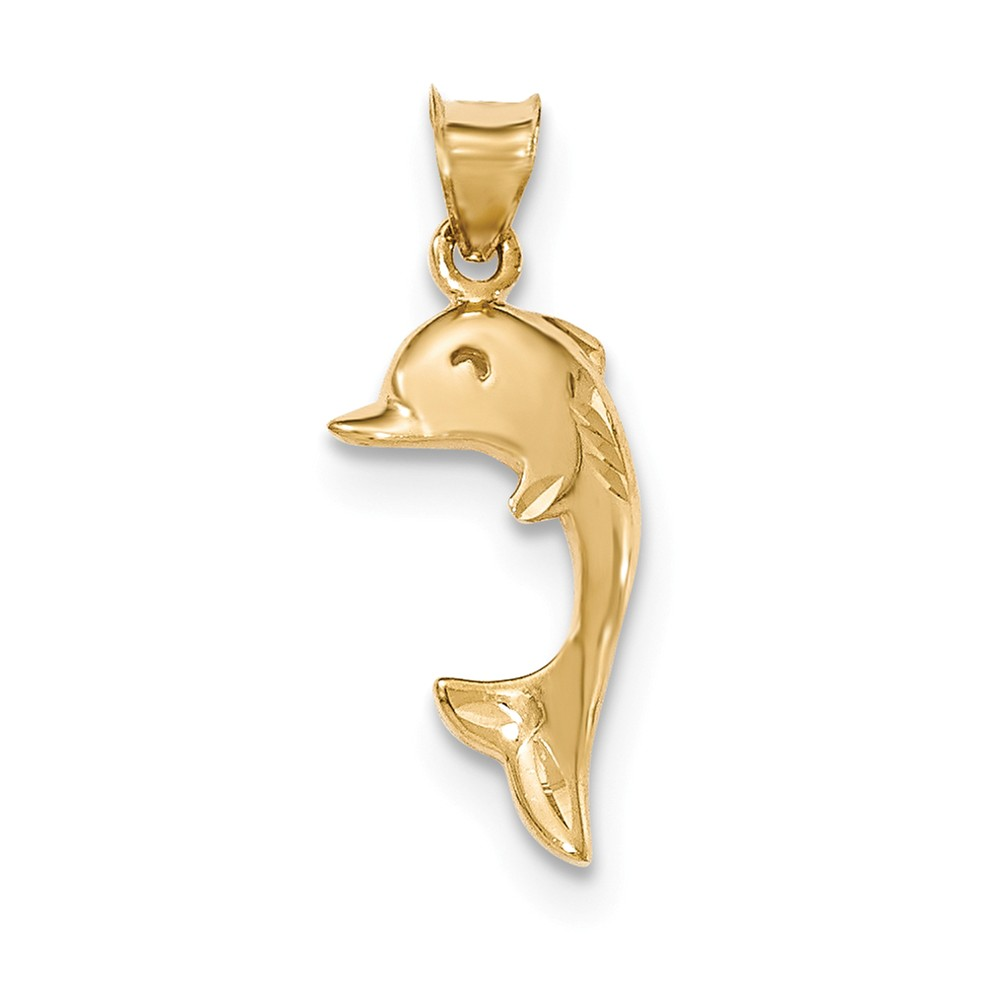 14k Yellow Gold Polished and Diamond Cut Dolphin Pendant