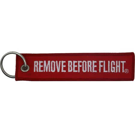 """Large Remove Before Flight Embroidered Keychain 5"""""""