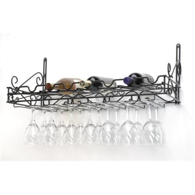 Concept Housewares WR-40701 Wine & Glass Wine Rack Metal Matte Black Finish