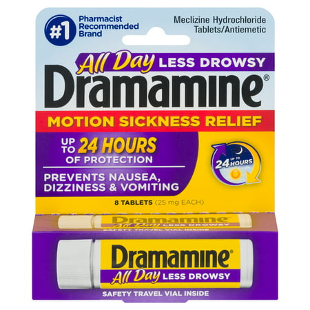 Dramamine All Day Less Drowsy Motion Sickness Relief, 8 Count (Dramamine Tablet Motion Sickness)