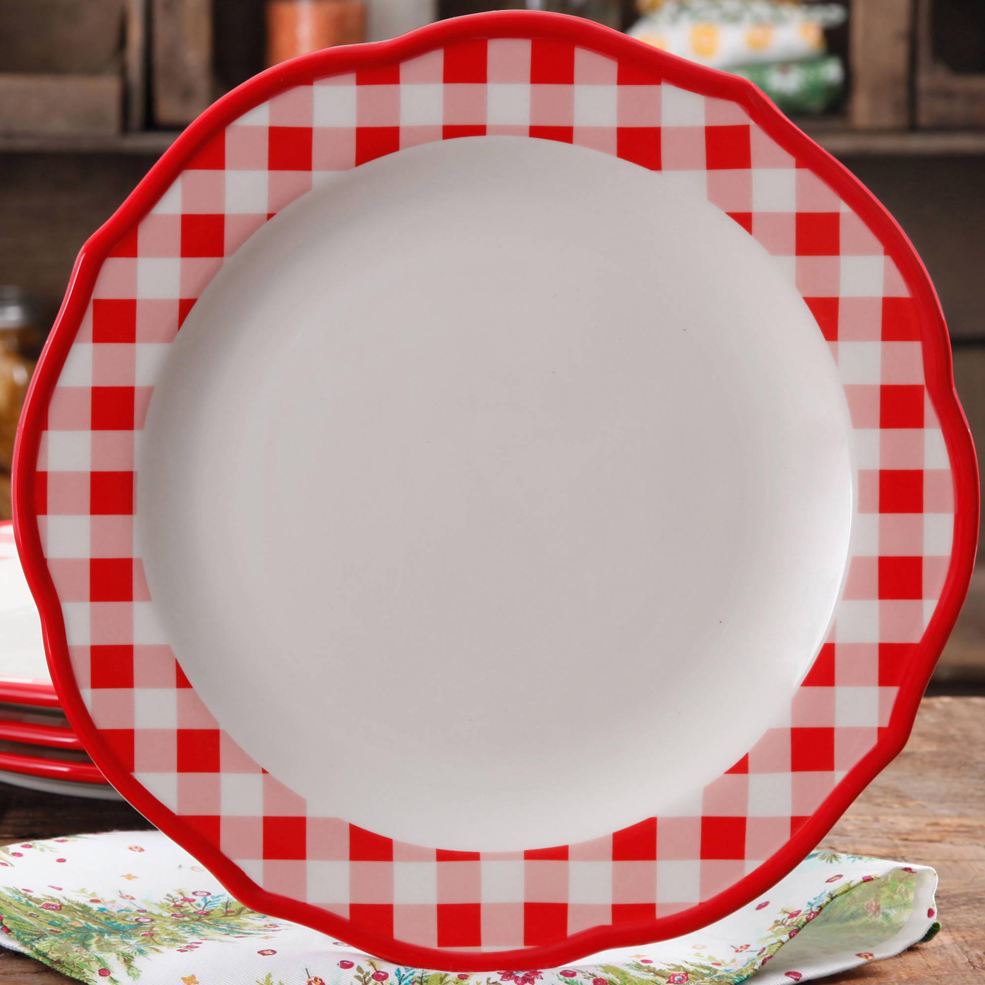 The Pioneer Woman Charming Check Dinner Plate Walmart Com