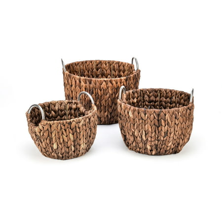 Stainless Steel Rinsing Basket - Set of 3 Round Hyacinth Baskets with Stainless Steel Handles-Rich Chocolate Finish-By Trademark Innovations