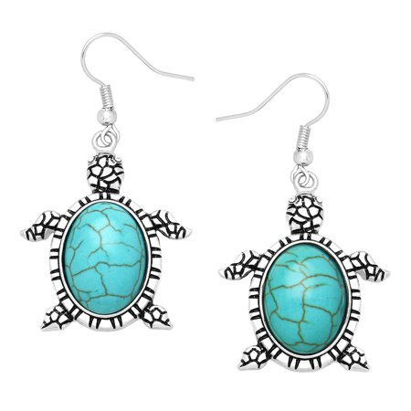 - Falari Natural Stone Turtle Shaped Earring Turquoise