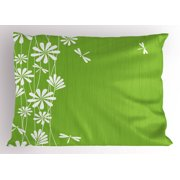 Dragonfly Pillow Sham Flower Petals Spring Motif Childish Growth Nature Seasonal Graphic Art, Decorative Standard Queen Size Printed Pillowcase, 30 X 20 Inches, Lime Green White, by Ambesonne