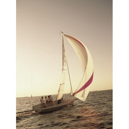 Group of People Sailing on a Sailboat Print Wall Art