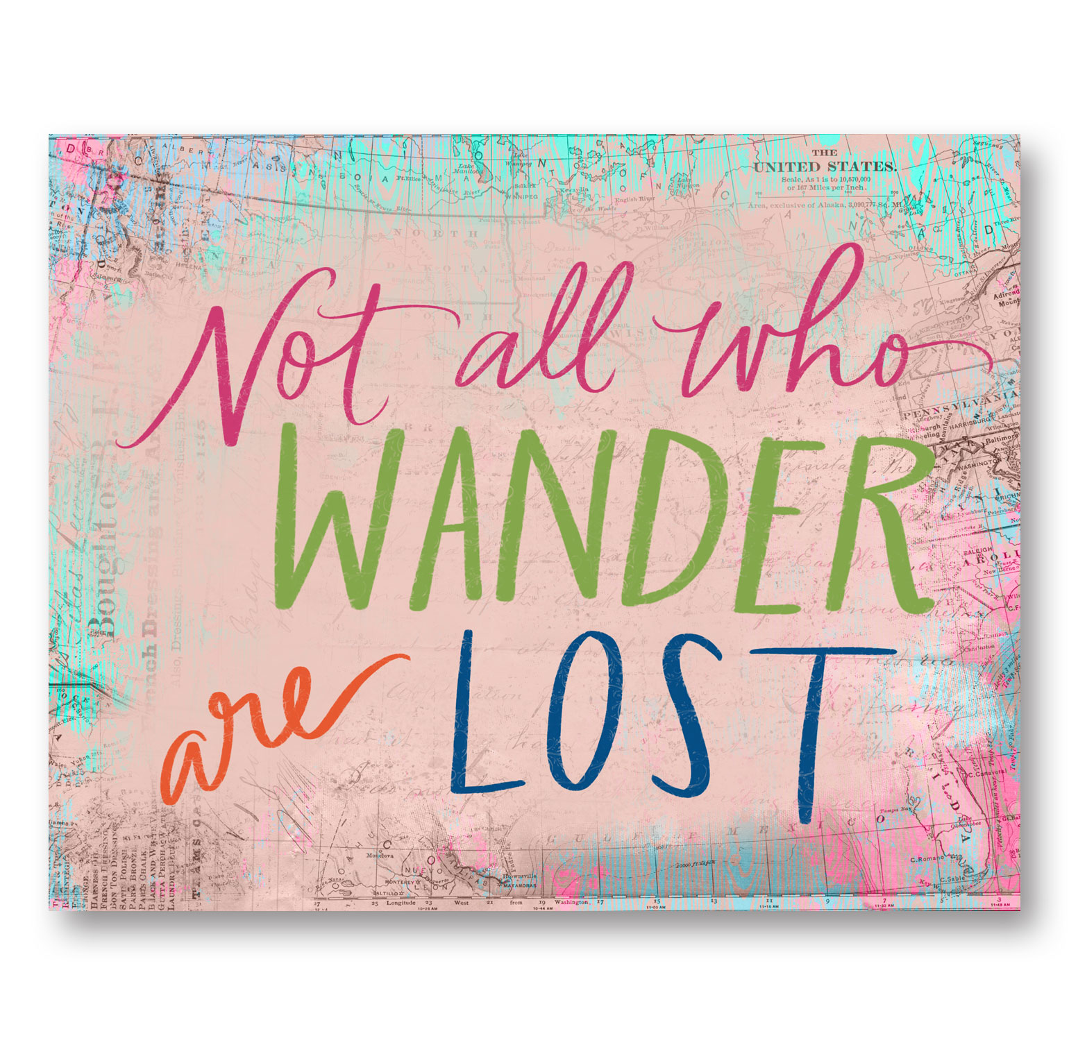 "Lovely Inspirational ""Not All Who Wander Are Lost"" Print; One 14x11in Unframed Paper Poster"