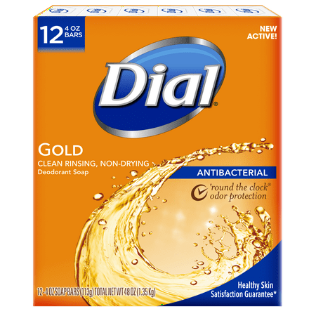 Dial Antibacterial Deodorant Bar Soap, Gold, 4 Ounce Bars, 12