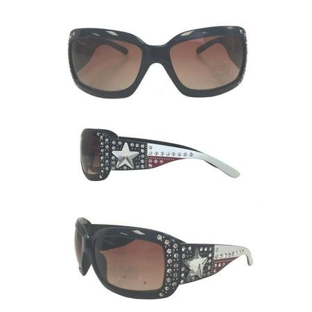 Montana West Ladies Sunglasses Texas Flag Rhinestone UV 400 Protection Navy (Kanye West Sunglasses Brand)