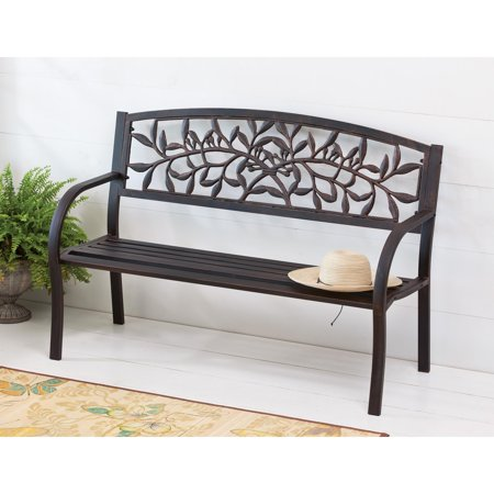 Evergreen Enterprises Cast Vine 50.5 in. Metal Bench with Bronze Finish