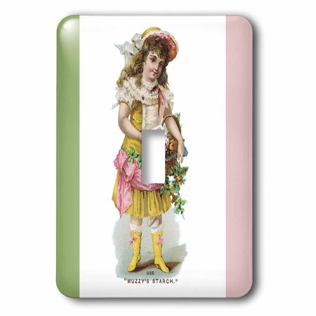 3dRose Muzzys Starch Young Girl with a Basket of Flowers in