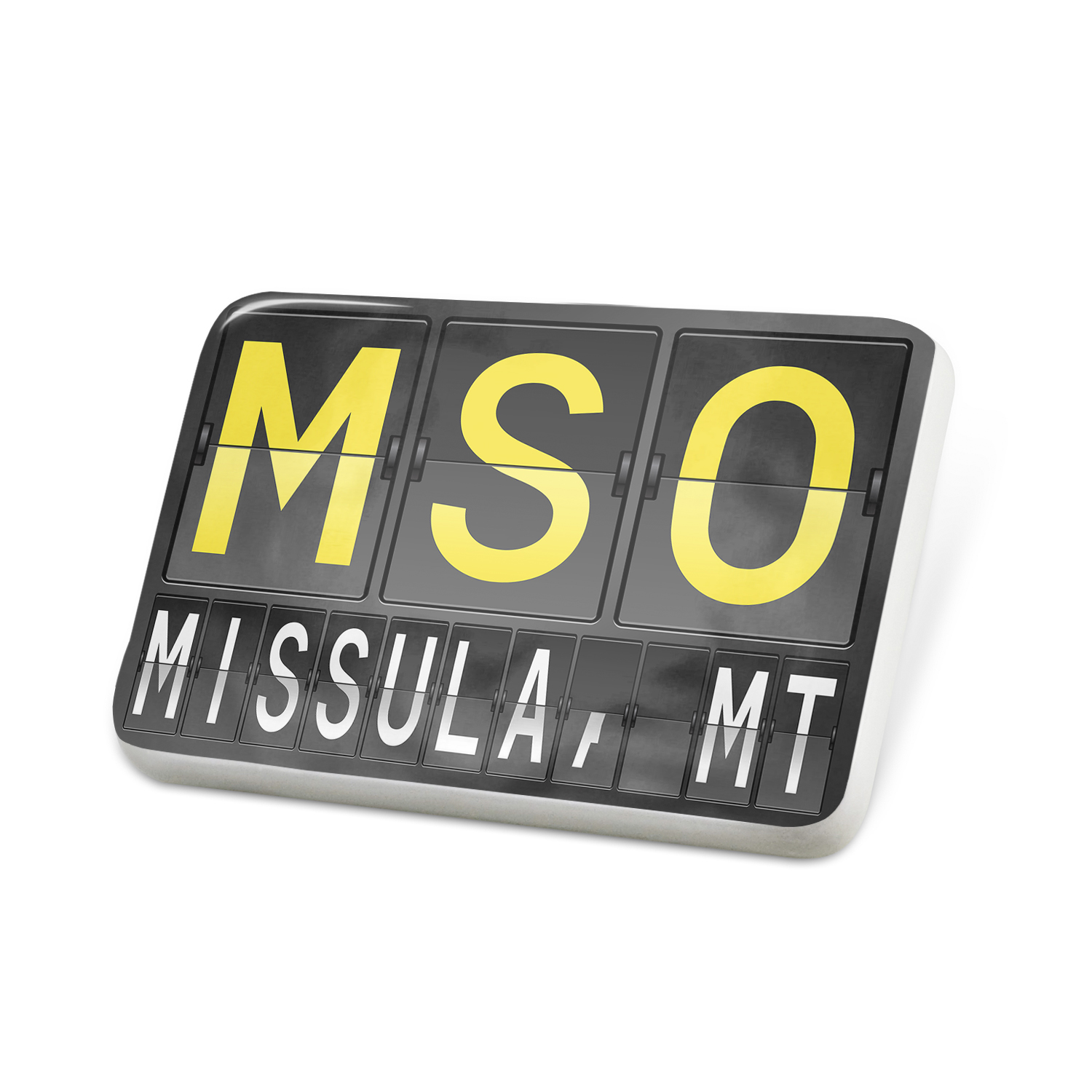 Porcelein Pin MSO Airport Code for Missula, MT Lapel Badge – NEONBLOND
