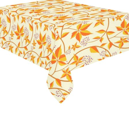 MYPOP Thanksgiving Orange Autumn Maple Leaf Cotton Linen Tableclothes Set 60x84 Inches - Fall Leaf Desk Table Cloth Cover for Wedding Holiday Party Decoration ()