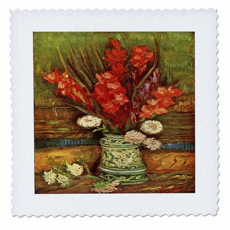 3dRose Vase of Red Gladiolis - Van Gogh - Quilt Square, 14 by