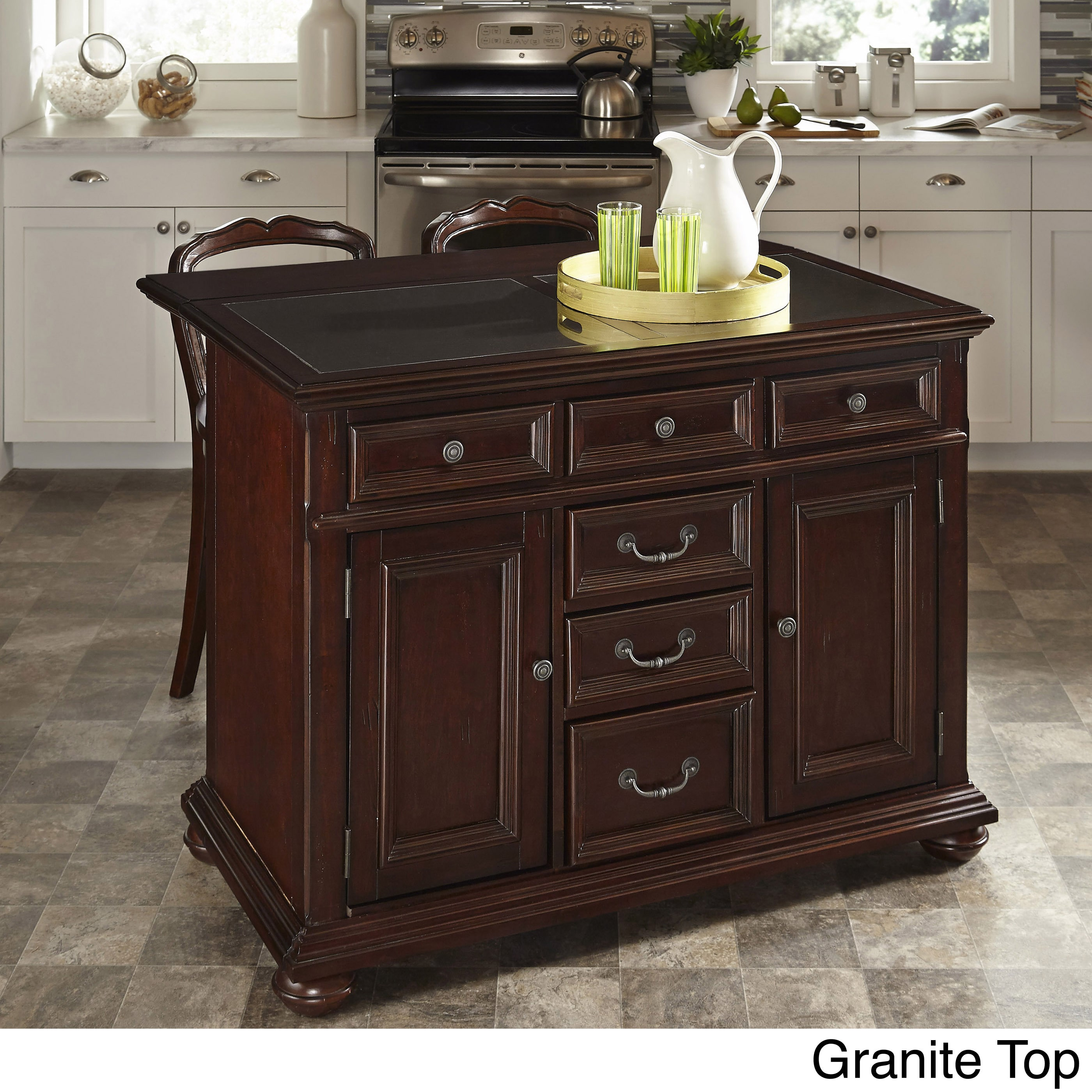 Home styles colonial classic kitchen island and two stools granite top