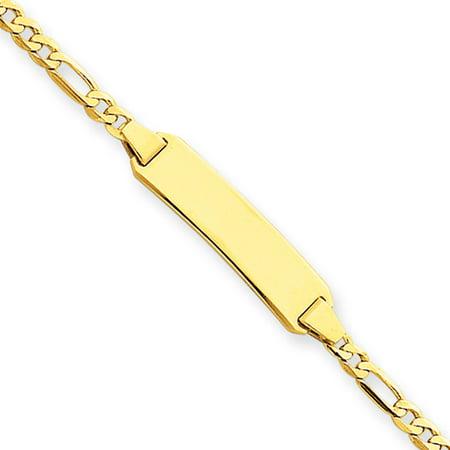 Ladies 14K Yellow Gold 4mm Figaro ID Bracelet W/Lobster Clasp - 8 Inch