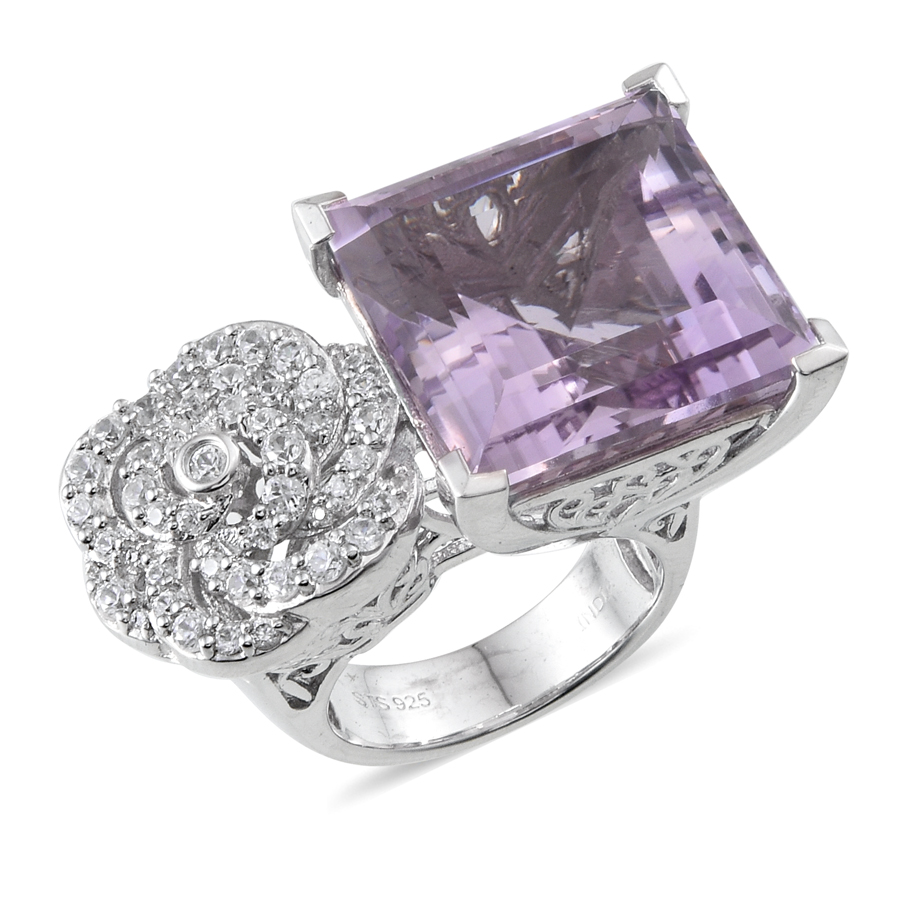Pink Amethyst, Zircon Rhodium Plated Silver Fashion Ring For Women 22.6 cttw by Shop LC