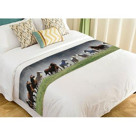 GCKG Wild Running Horses Super Bed Decoration Bed Runner Bedding Scarf 20x95 Inch - image 2 of 2