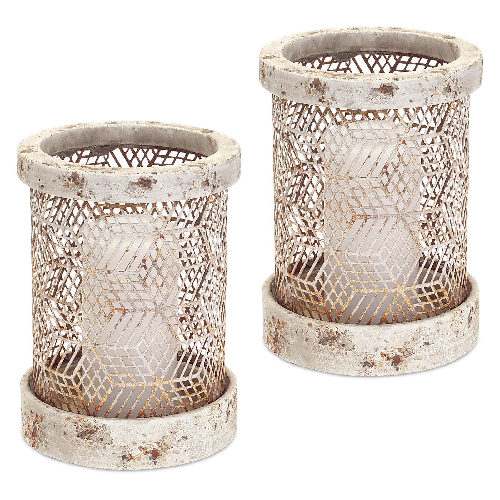 Melrose International Cylindrical Stone Look Candle Holder - Set of 2
