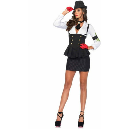 Leg Avenue Women's 3 Piece Machine Gun Molly Gangster Costume, Black/White, Small for $<!---->