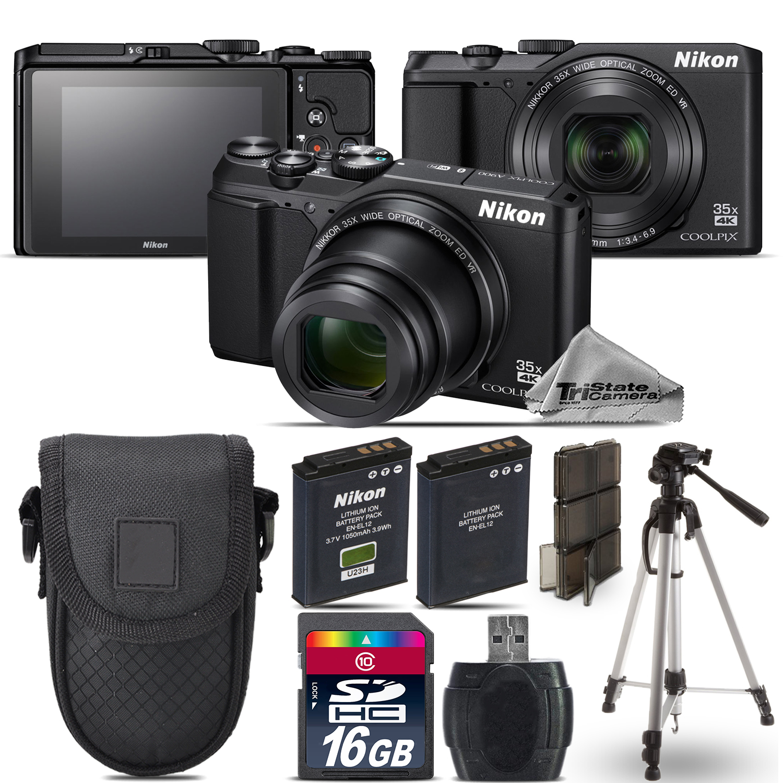 Nikon Coolpix A900 20MP Digital Camera Black 35x Optical Zoom - 16GB Kit Bundle