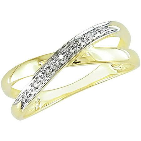 Kt Gold Diamond Criscross Ring