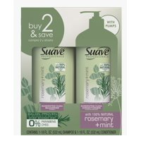 Sauve Professionals Rosemary and Mint Invigorating Shampoo and Conditioner Paraben free and Dye free for Dry and Damaged Hair 18 oz, 2 Count