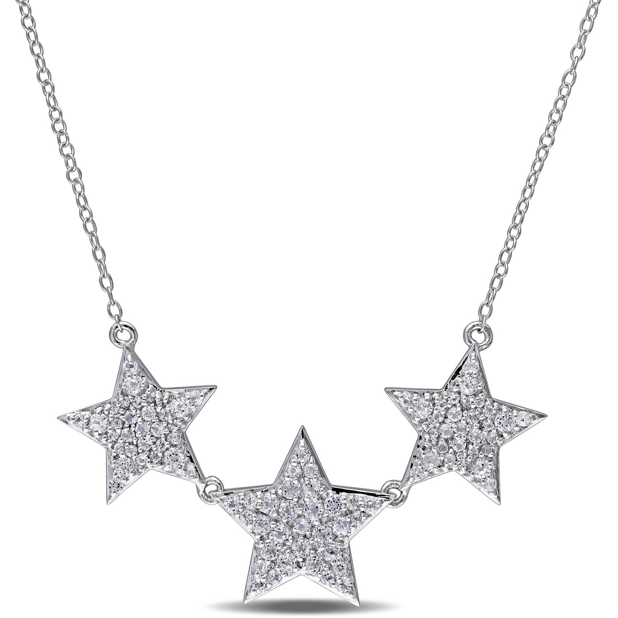 "Miabella 1-5 8 Carat T.G.W. White Topaz Sterling Silver Triple Star Necklace, 17"" by Miabella"