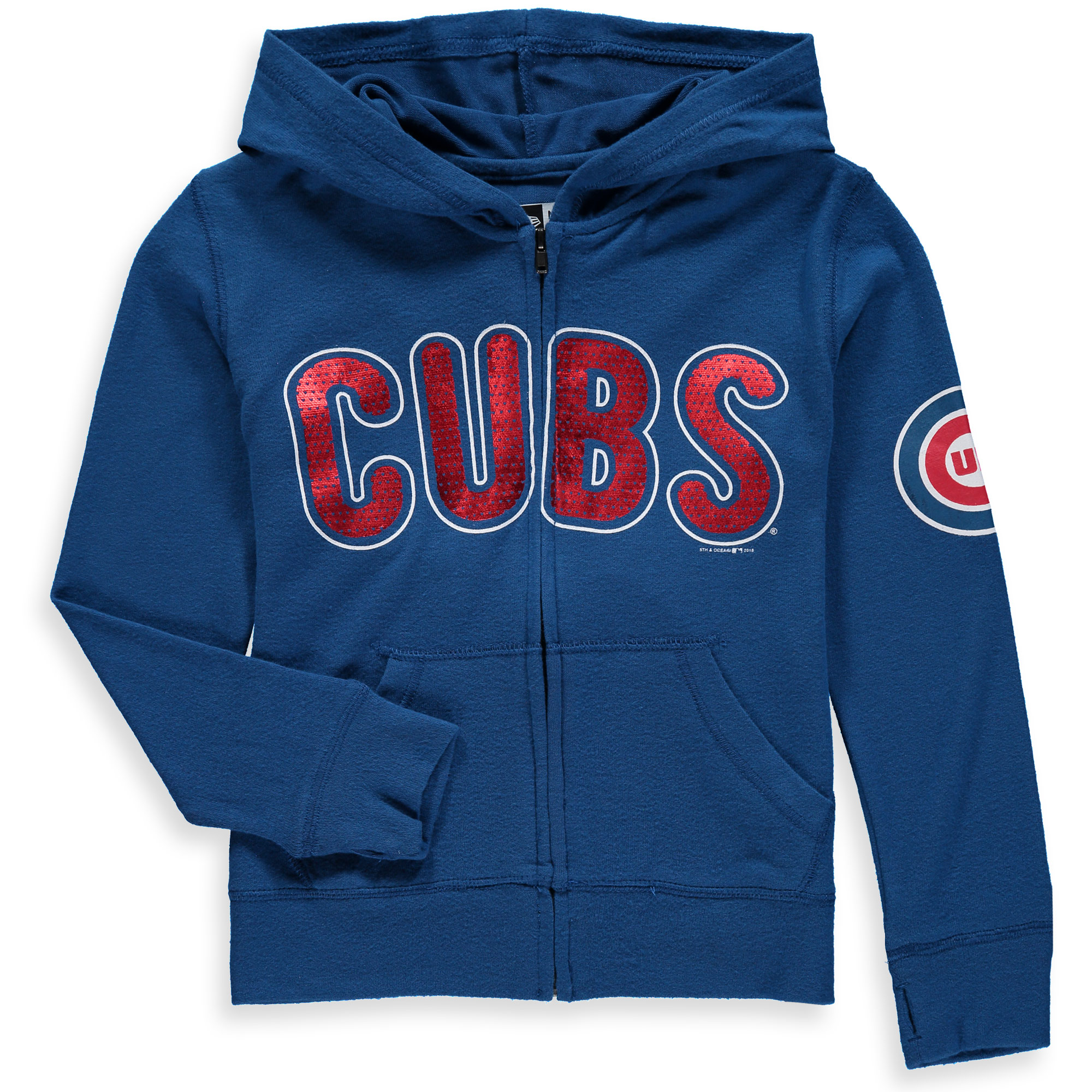 Chicago Cubs 5th & Ocean by New Era Girls Youth Brushed Sweater Knit Tri-Blend Full-Zip Hoodie - Royal