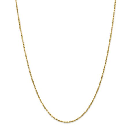 1.6mm, 14k Yellow Gold, Diamond Cut Rope Chain Necklace, 30