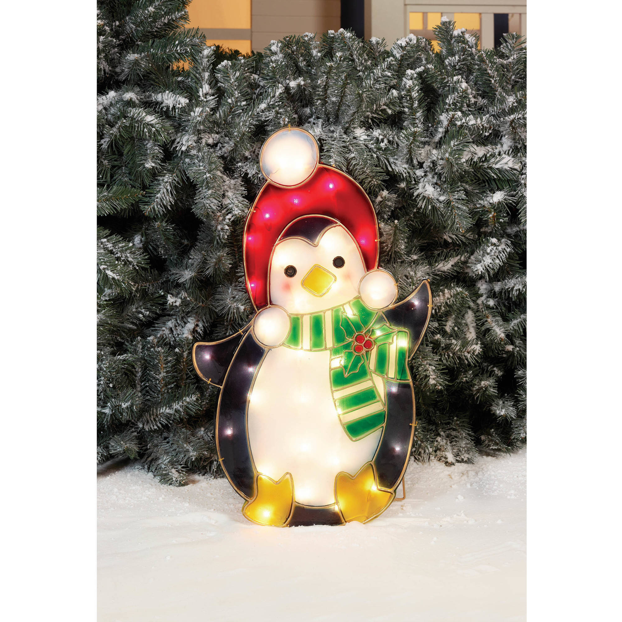 "Holiday Time Christmas Decor 24"" Prismatic Penguin with Red Cap Sculpture"
