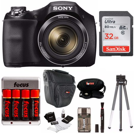 Sony DSCH300B Digital Camera with DSLR Holster Bag and 32GB SD Card (Best Gimbal For Dslr)