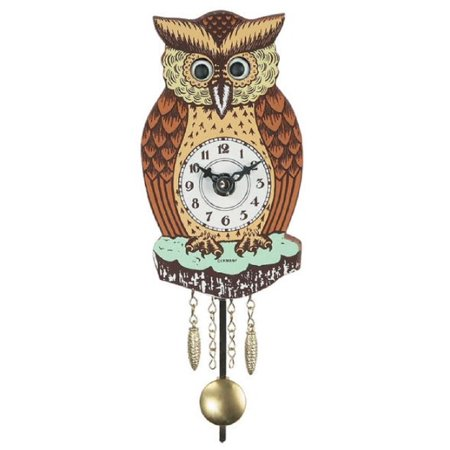 Brown Owl with Moving Eyes and Pendulum Quartz Movement Mini German (Black Cat Clock With Moving Eyes And Tail)