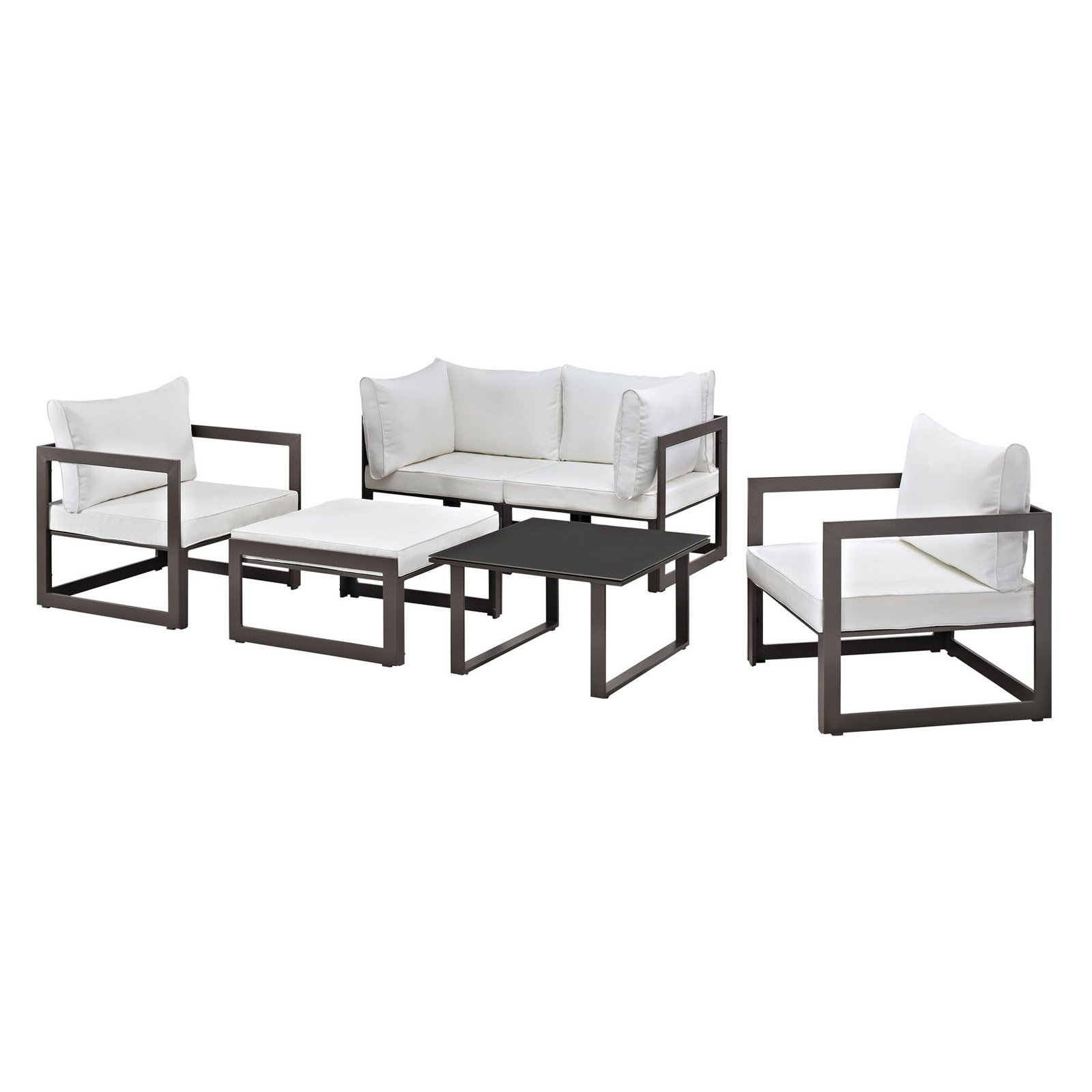 Modway Fortuna 6 Piece Outdoor Patio Sectional Sofa Set, Multiple Colors