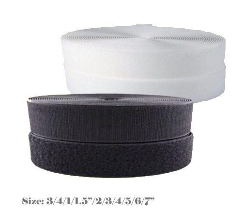 "MTP Black / White Sew On Style  Hook and  Loop Fastener Interlock Strap 3/4"" 1"" 1.5"" 2"" 3"" 4"" 5"" 6"" 7"" Inch Fastener (Sold By 2/5/10/27 Yards) Premium Grade"