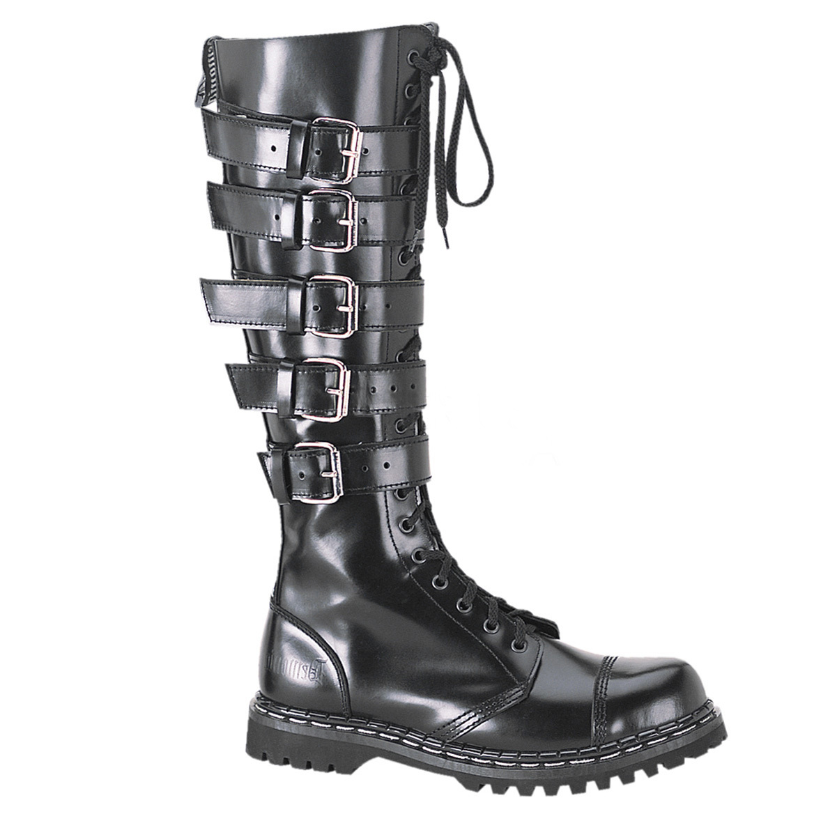 mens black leather combat boots 20 eyelet 5