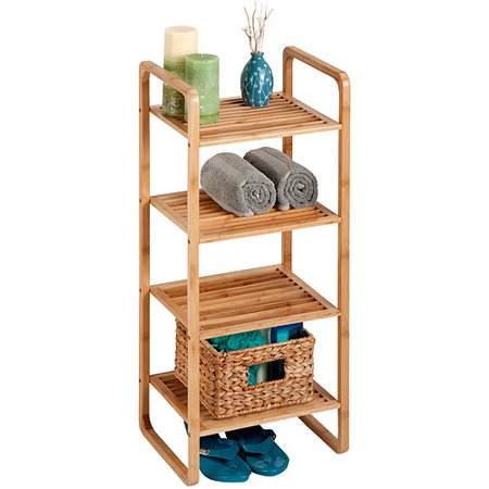 Honey Can Do 4-Shelf Bamboo Bathroom Storage Accessory Shelf, Brown ()
