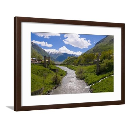 River Running Below the Famous Fortress Monastery Kazbegi Near the Chechnya Border, Georgia Framed Print Wall Art By Michael - Georgian Border