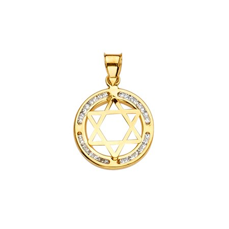 Ioka - 14K Yellow Gold CZ Star of David Charm Pendant For Necklace or