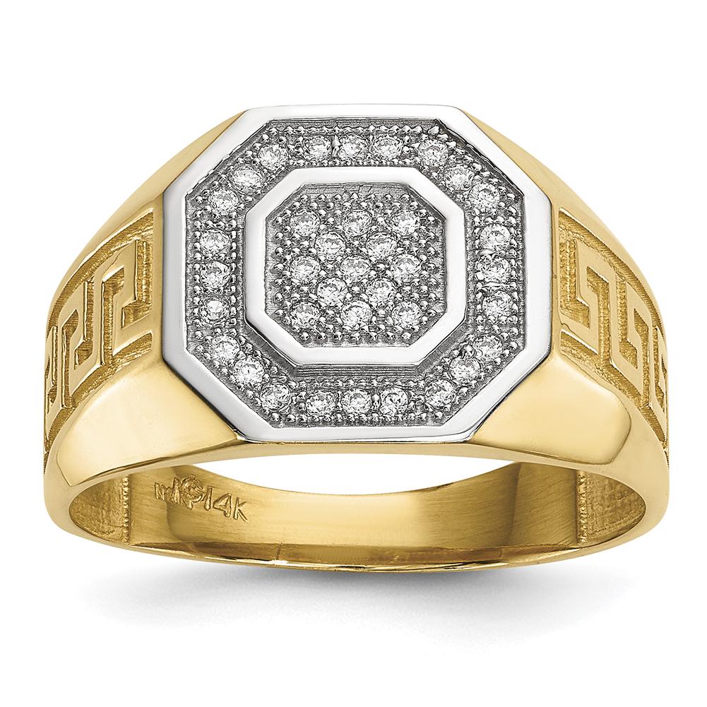 14k Yellow Goldw  Rhodium Men's Micro Pave Cubic Zirconia Octagon & Greek Key Ring Size 10 Y13802 by