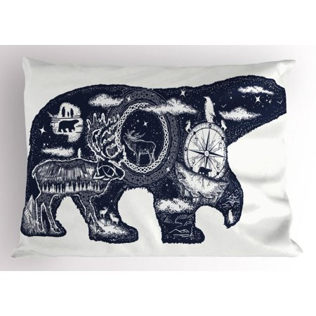 Animals With Tattoos (Polar Bear Pillow Sham, Boho Tattoo Art Style Animal Silhouette with Wildlife Elements and Compass, Decorative Standard Size Printed Pillowcase, 26 X 20 Inches, Dark Blue White, by)