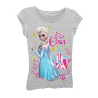 Disney Frozen Elsa Flowers Girls Grey T-Shirt | 4