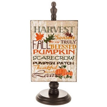 Fall Harvest Pumpkin Wood Decor on Stand Thanksgiving Home Decoration Keepsake